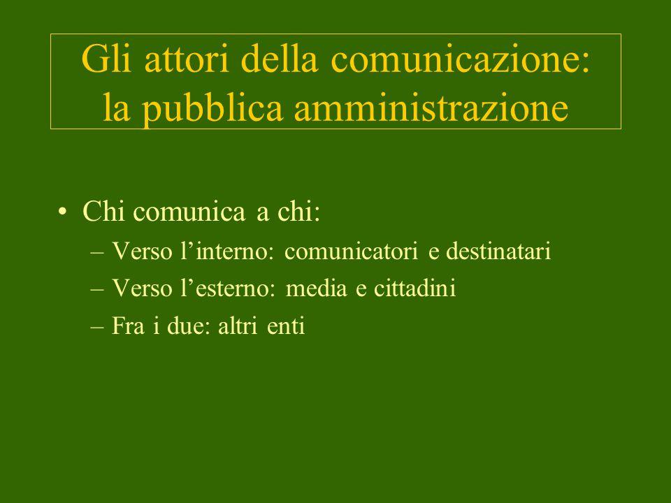 Gli attori della comunicazione: la pubblica amministrazione