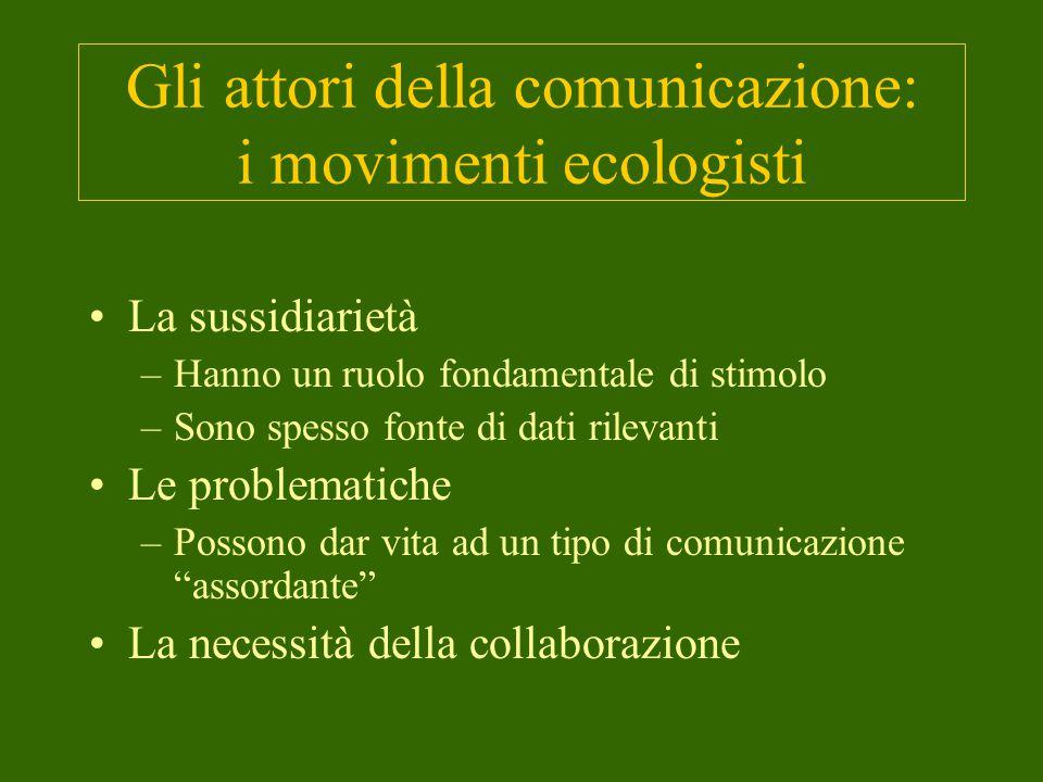 Gli attori della comunicazione: i movimenti ecologisti