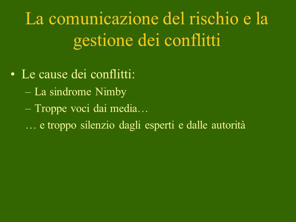 La comunicazione del rischio e la gestione dei conflitti
