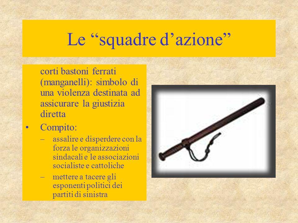 Le squadre d'azione corti bastoni ferrati (manganelli): simbolo di una violenza destinata ad assicurare la giustizia diretta.