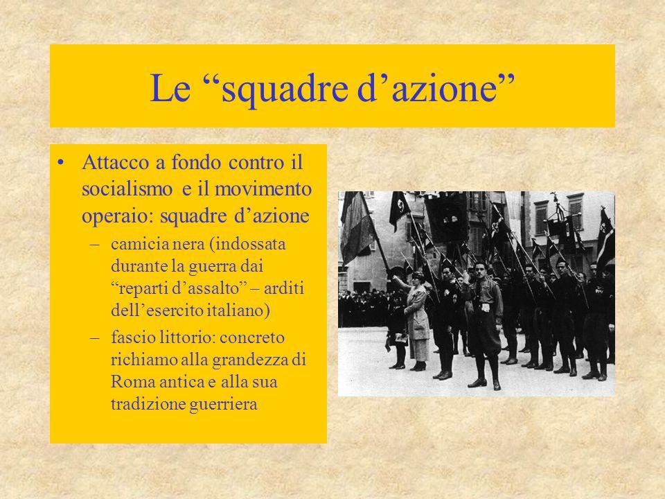 Le squadre d'azione Attacco a fondo contro il socialismo e il movimento operaio: squadre d'azione.