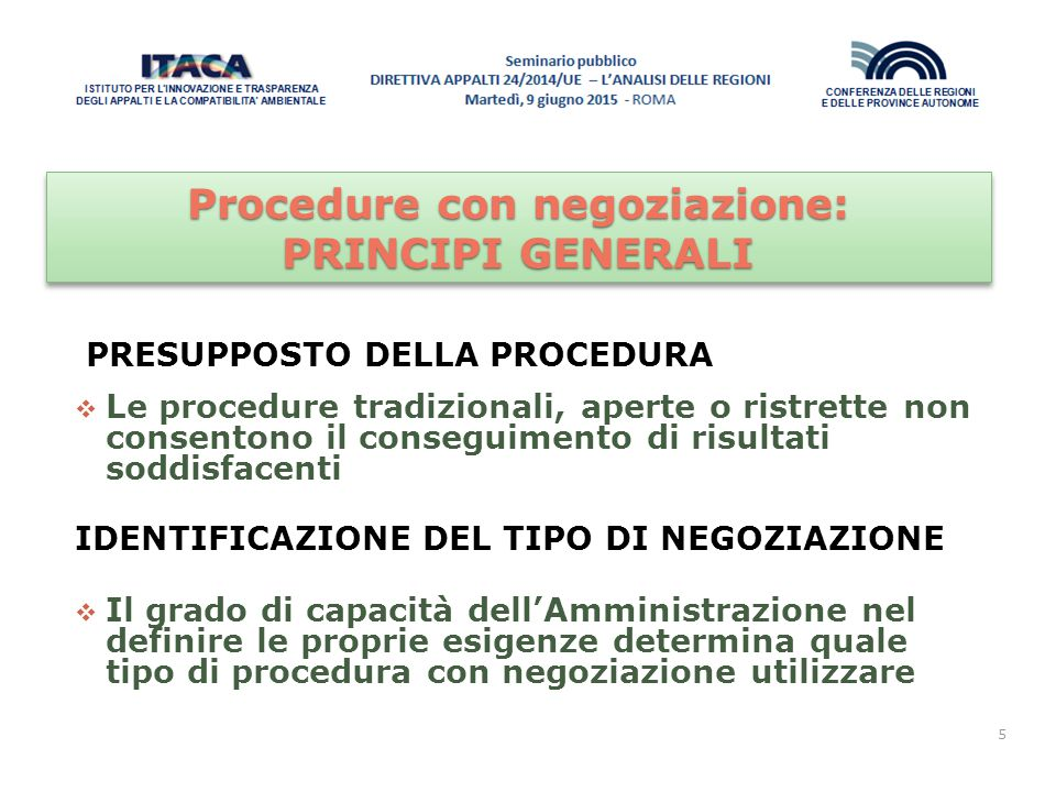 Procedure con negoziazione: PRINCIPI GENERALI