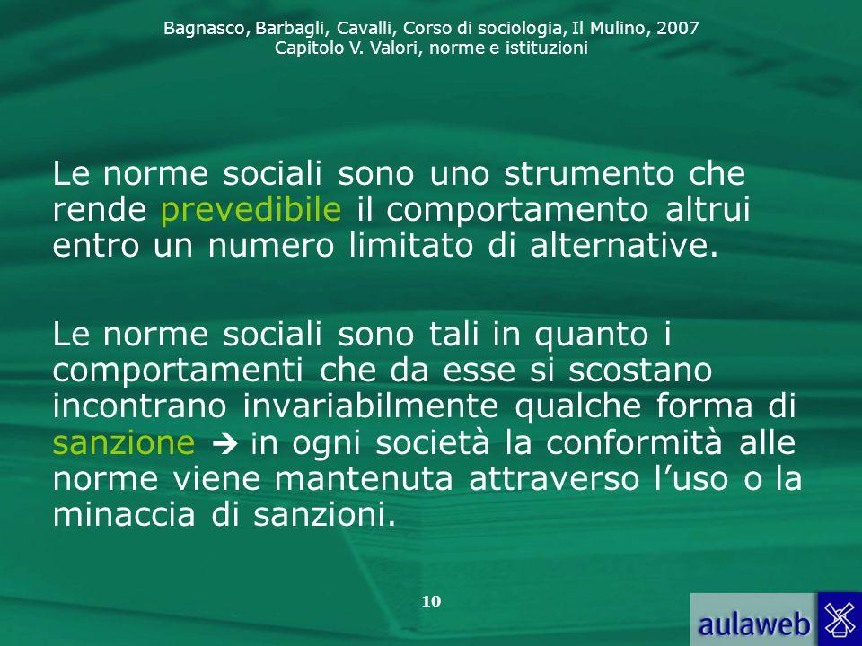 Le norme sociali sono uno strumento che rende prevedibile il comportamento altrui entro un numero limitato di alternative.