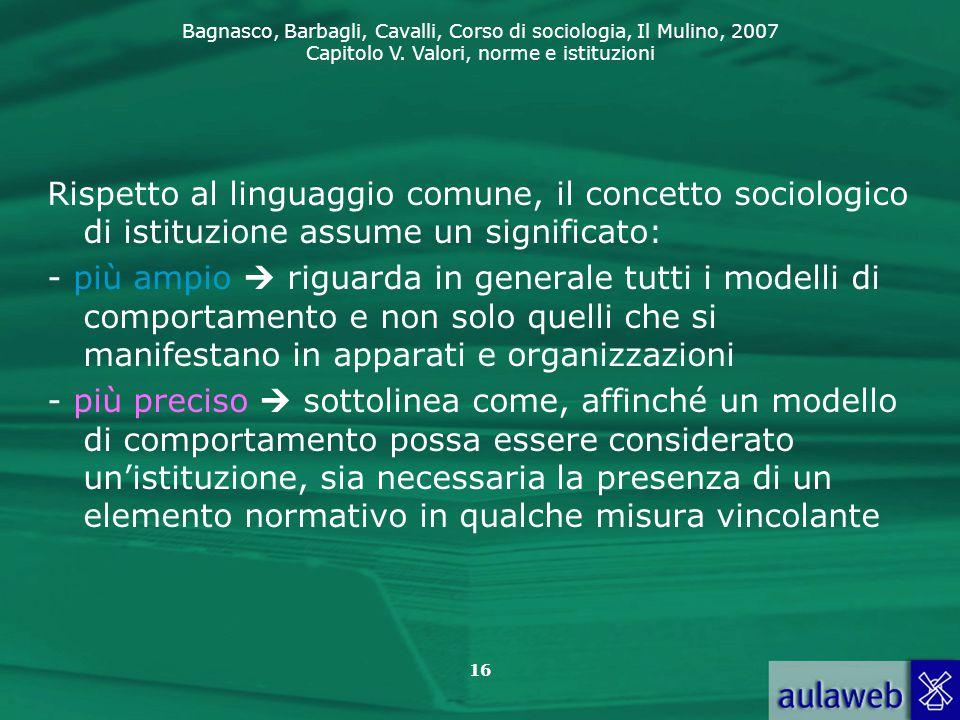 Rispetto al linguaggio comune, il concetto sociologico di istituzione assume un significato: