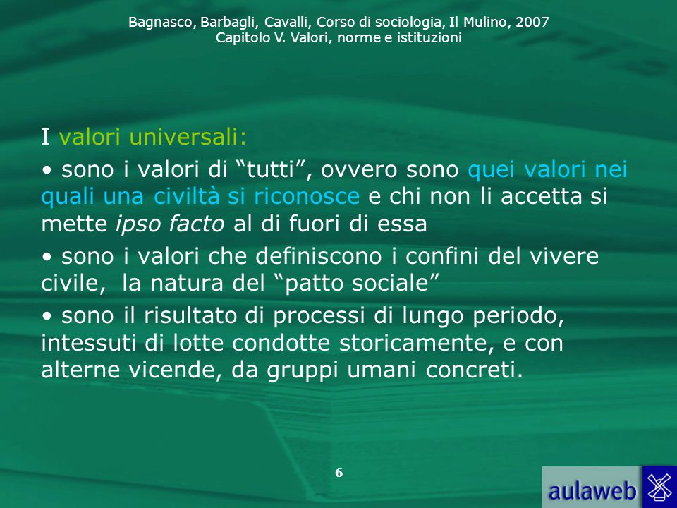 I valori universali: