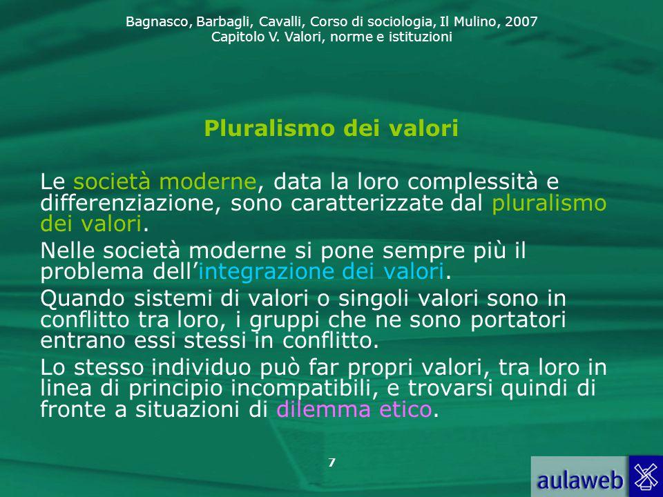 Pluralismo dei valori Le società moderne, data la loro complessità e differenziazione, sono caratterizzate dal pluralismo dei valori.