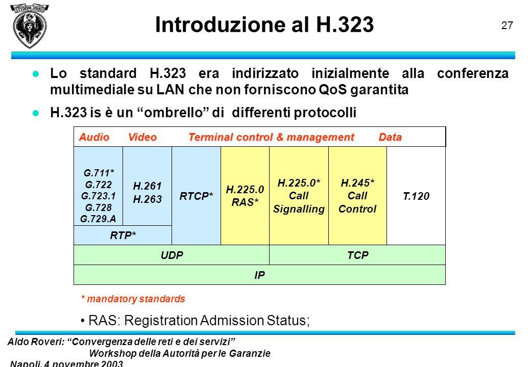 Introduzione al H.323Lo standard H.323 era indirizzato inizialmente alla conferenza multimediale su LAN che non forniscono QoS garantita.