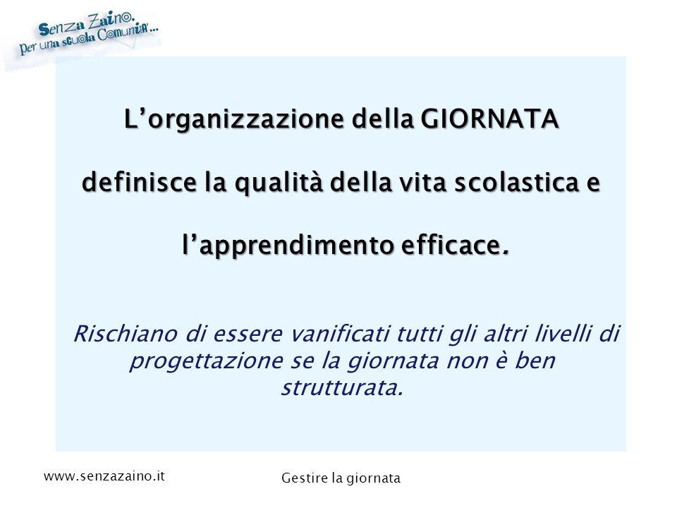 L'organizzazione della GIORNATA definisce la qualità della vita scolastica e l'apprendimento efficace.