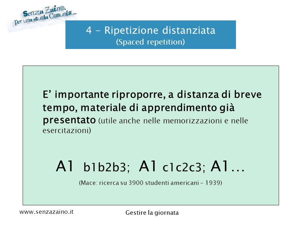 4 - Ripetizione distanziata (Spaced repetition)