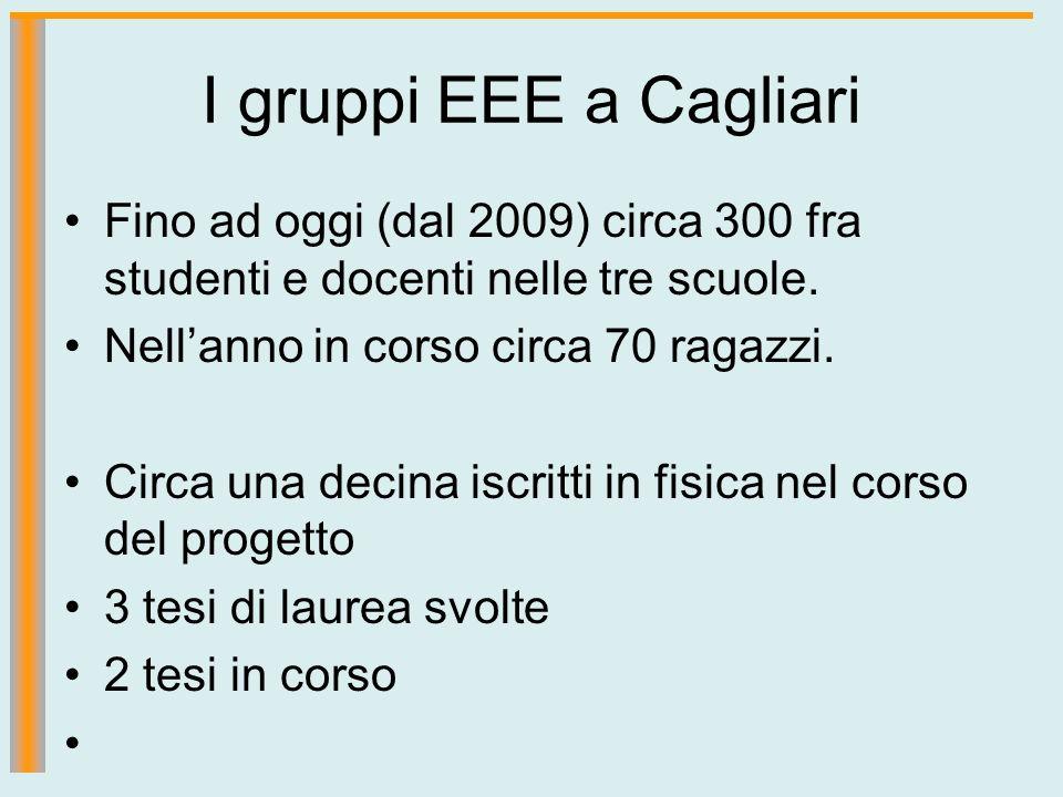 I gruppi EEE a Cagliari Fino ad oggi (dal 2009) circa 300 fra studenti e docenti nelle tre scuole. Nell'anno in corso circa 70 ragazzi.