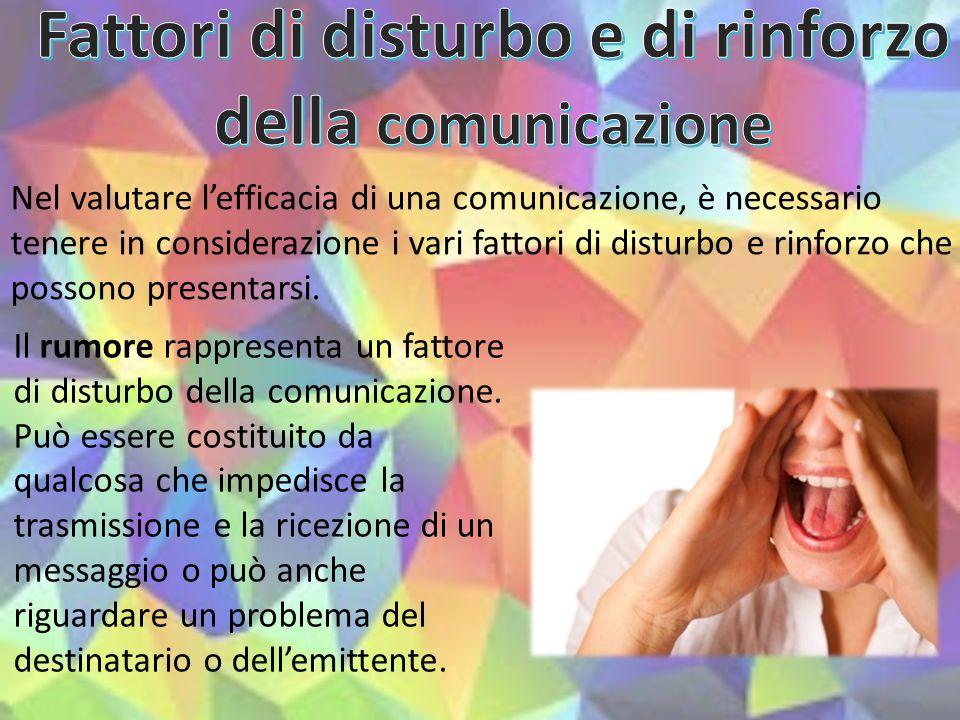 Fattori di disturbo e di rinforzo della comunicazione