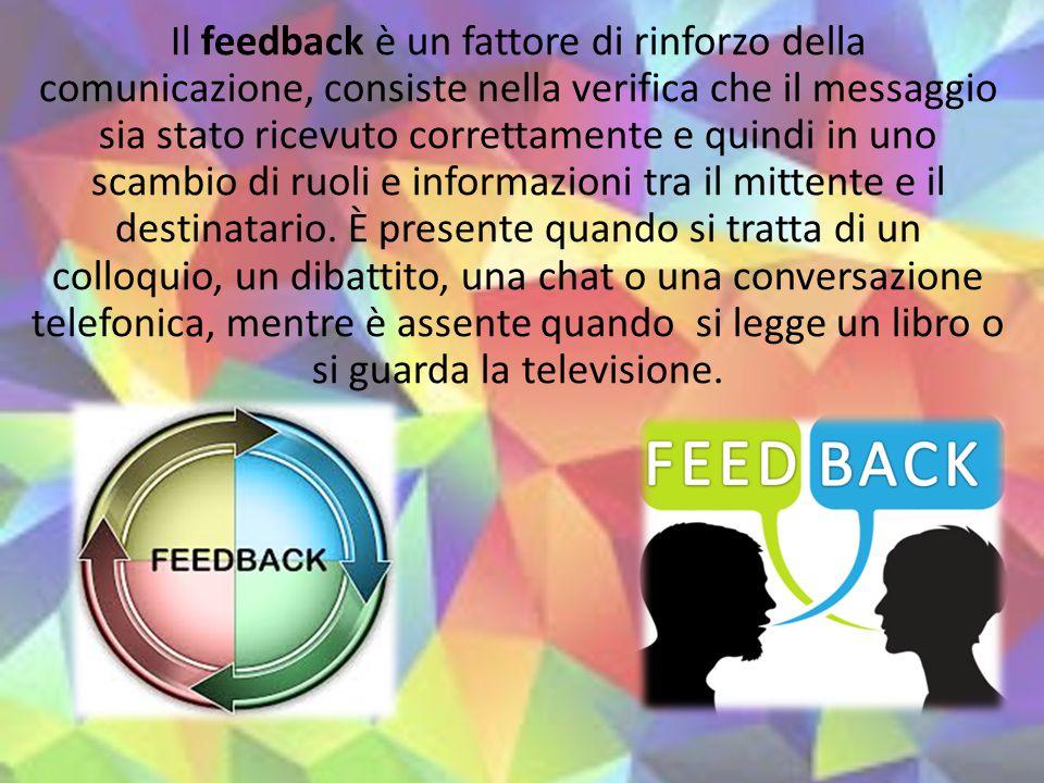 Il feedback è un fattore di rinforzo della comunicazione, consiste nella verifica che il messaggio sia stato ricevuto correttamente e quindi in uno scambio di ruoli e informazioni tra il mittente e il destinatario.