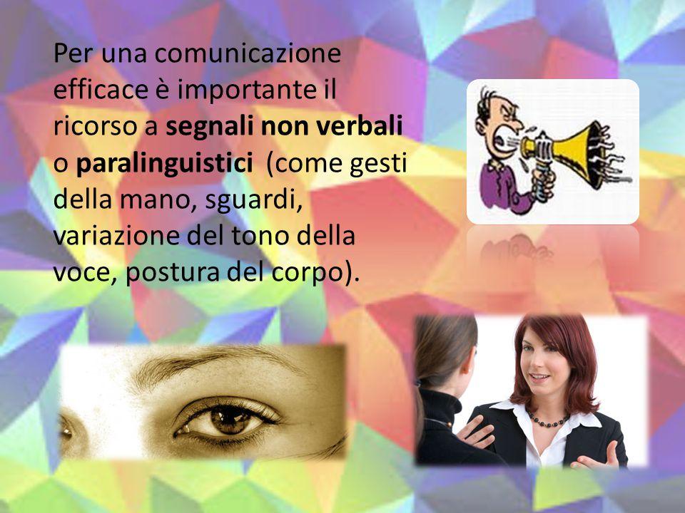 Per una comunicazione efficace è importante il ricorso a segnali non verbali o paralinguistici (come gesti della mano, sguardi, variazione del tono della voce, postura del corpo).