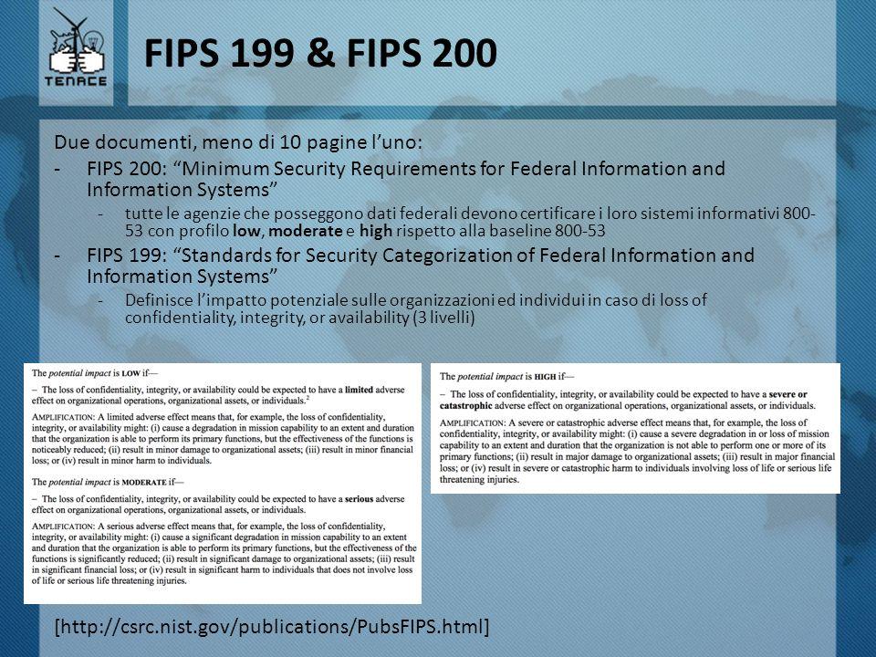 FIPS 199 & FIPS 200 Due documenti, meno di 10 pagine l'uno: