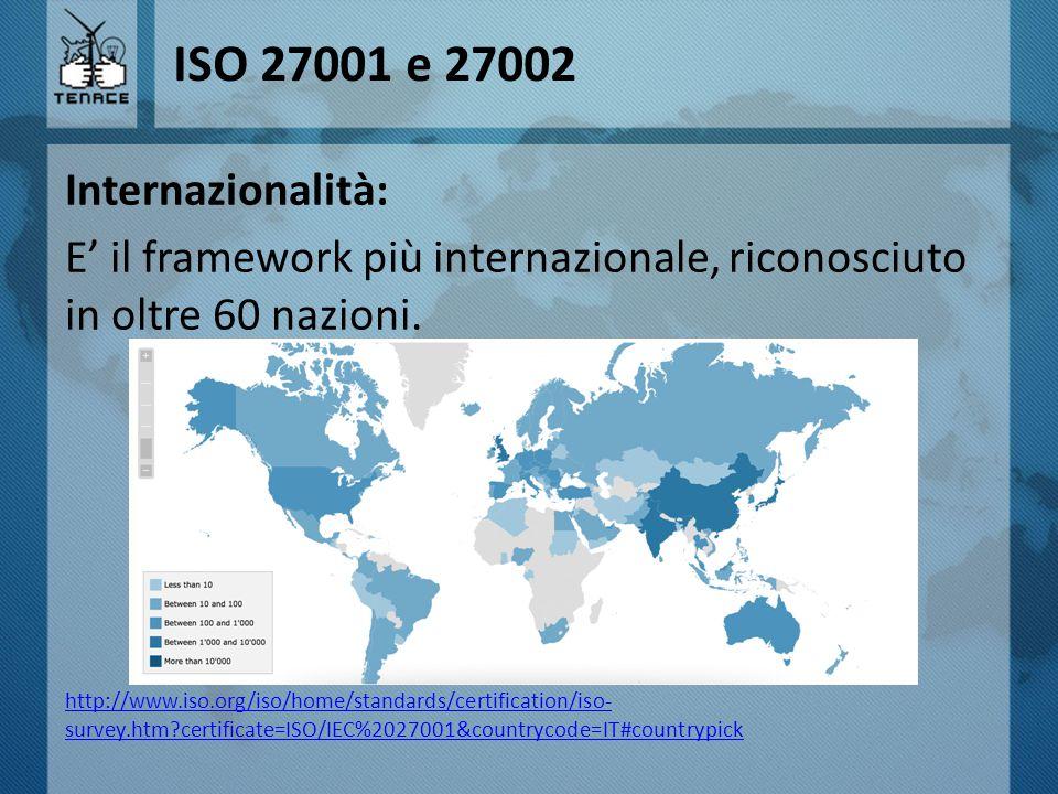 ISO 27001 e 27002 Internazionalità: