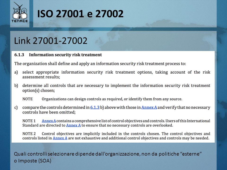 ISO 27001 e 27002 Link 27001-27002. Quali controlli selezionare dipende dall'organizzazione, non da politiche esterne
