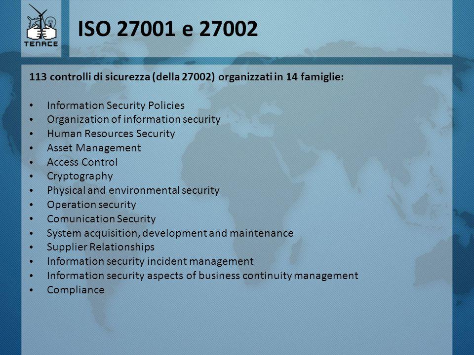 ISO 27001 e 27002 113 controlli di sicurezza (della 27002) organizzati in 14 famiglie: Information Security Policies.