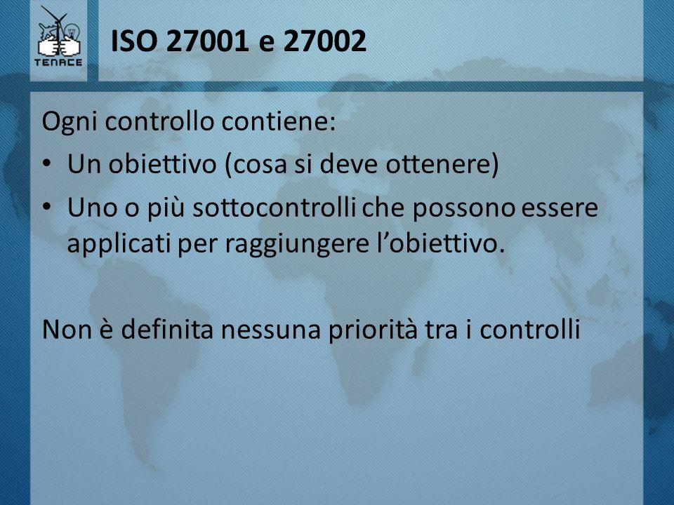 ISO 27001 e 27002 Ogni controllo contiene:
