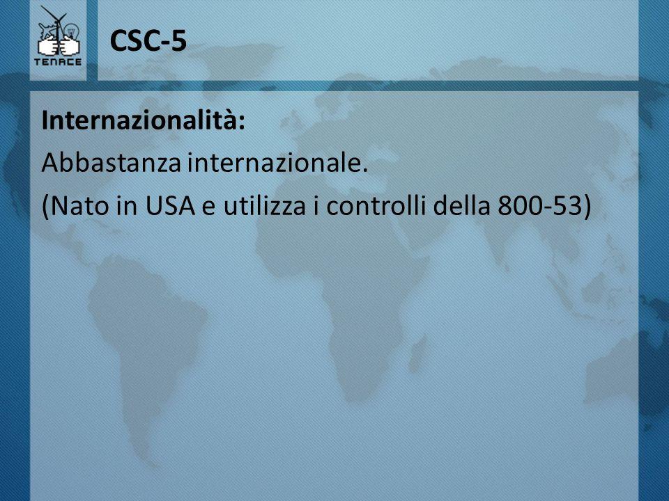 CSC-5 Internazionalità: Abbastanza internazionale.