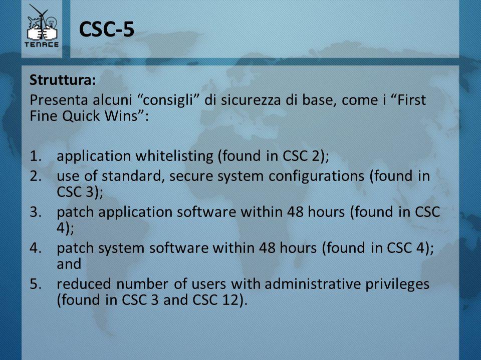CSC-5 Struttura: Presenta alcuni consigli di sicurezza di base, come i First Fine Quick Wins : application whitelisting (found in CSC 2);
