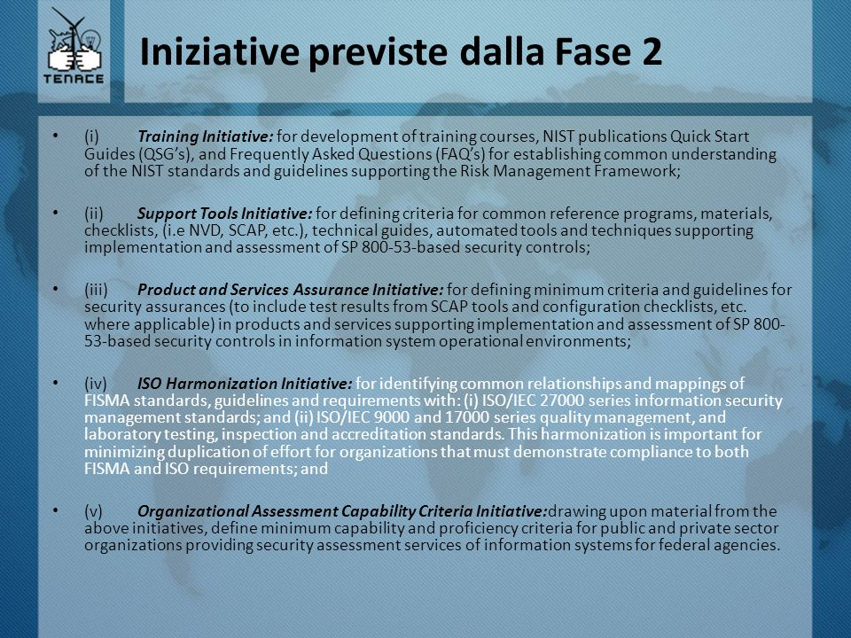 Iniziative previste dalla Fase 2