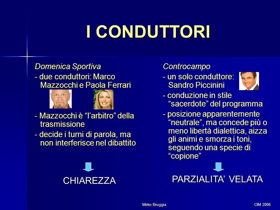 I CONDUTTORI PARZIALITA' VELATA CHIAREZZA Domenica Sportiva