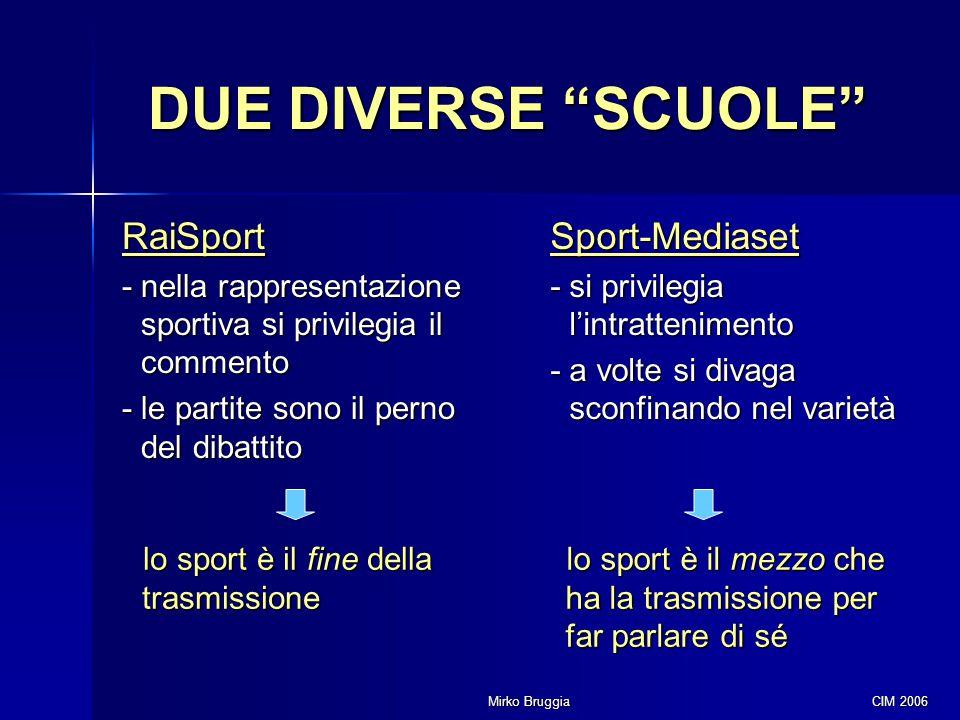 DUE DIVERSE SCUOLE RaiSport Sport-Mediaset