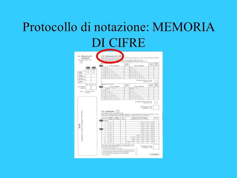 Protocollo di notazione: MEMORIA DI CIFRE