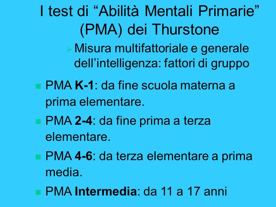 I test di Abilità Mentali Primarie (PMA) dei Thurstone