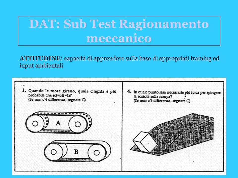 DAT: Sub Test Ragionamento meccanico