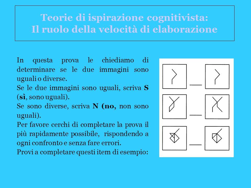 Teorie di ispirazione cognitivista: Il ruolo della velocità di elaborazione
