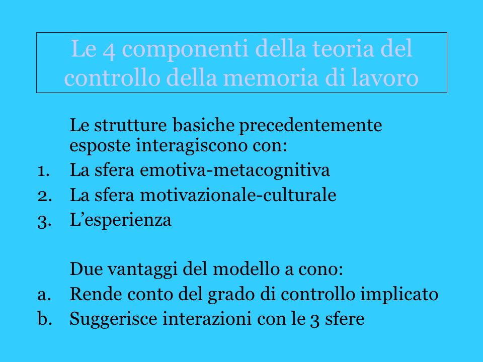 Le 4 componenti della teoria del controllo della memoria di lavoro