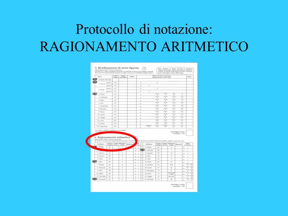 Protocollo di notazione: RAGIONAMENTO ARITMETICO