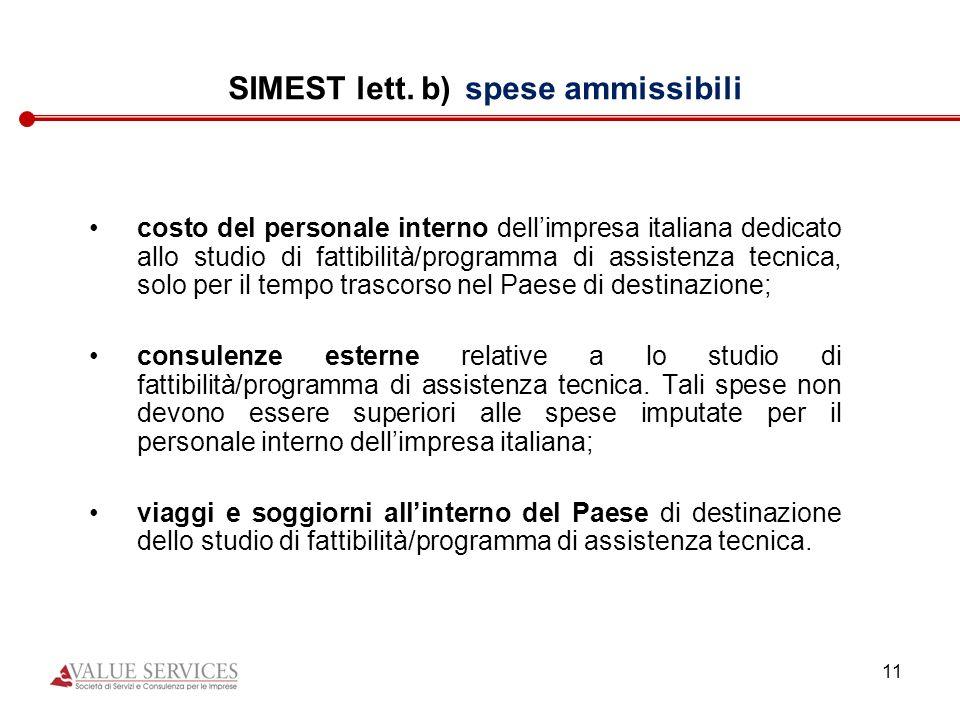 SIMEST lett. b) spese ammissibili