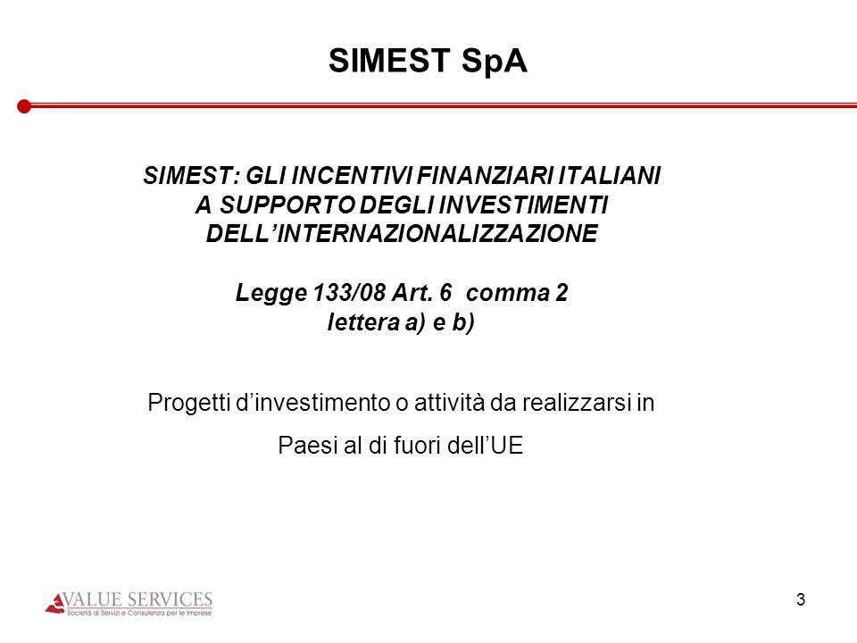 SIMEST SpA SIMEST: GLI INCENTIVI FINANZIARI ITALIANI