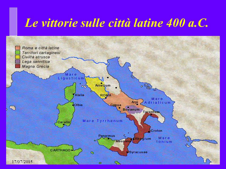 Le vittorie sulle città latine 400 a.C.