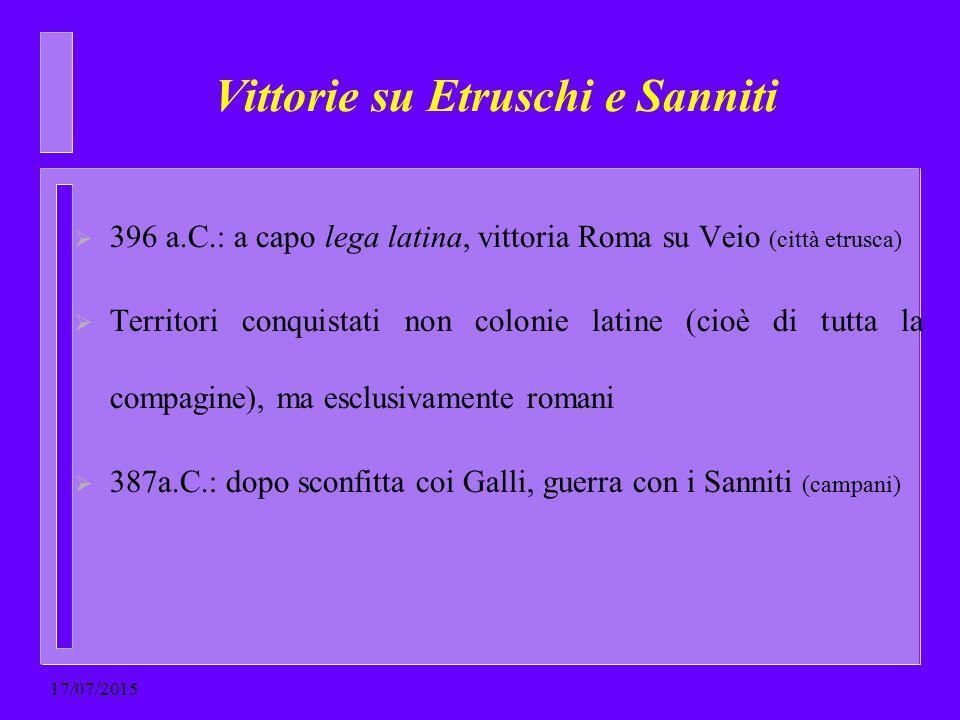 Vittorie su Etruschi e Sanniti