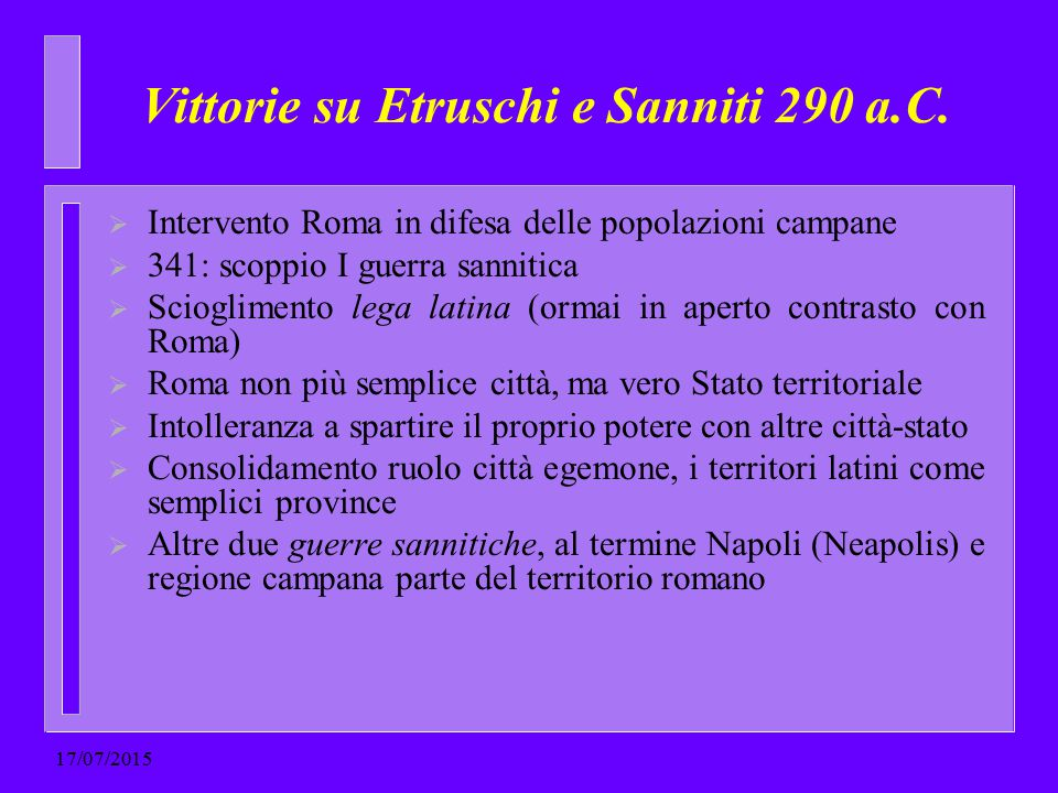 Vittorie su Etruschi e Sanniti 290 a.C.