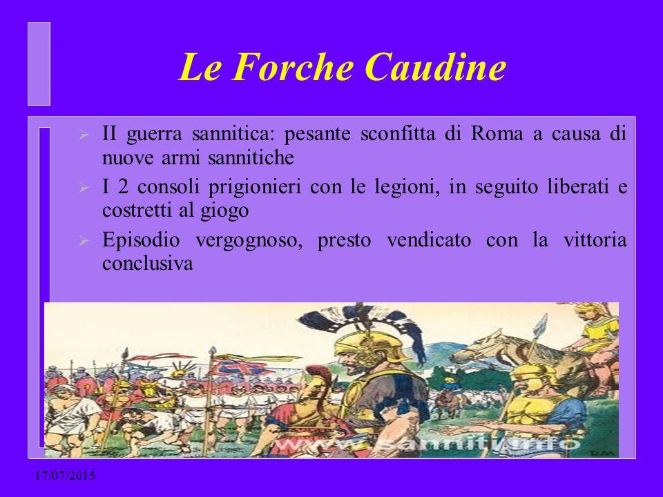 Le Forche Caudine II guerra sannitica: pesante sconfitta di Roma a causa di nuove armi sannitiche.