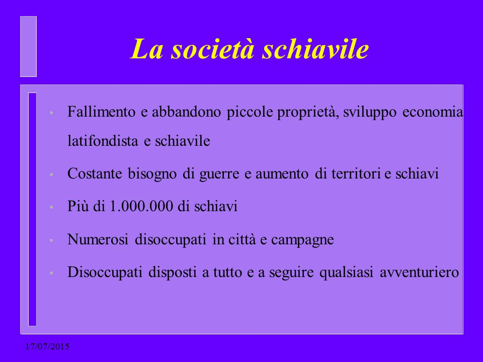 La società schiavile Fallimento e abbandono piccole proprietà, sviluppo economia latifondista e schiavile.