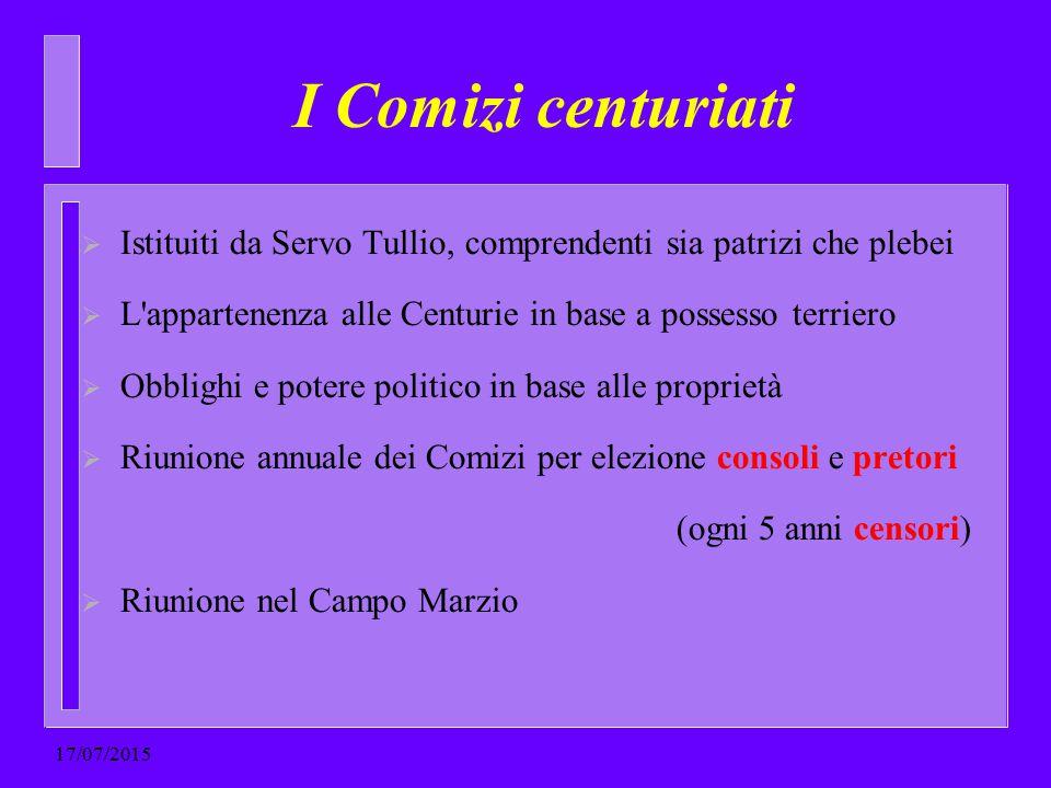 I Comizi centuriati Istituiti da Servo Tullio, comprendenti sia patrizi che plebei. L appartenenza alle Centurie in base a possesso terriero.