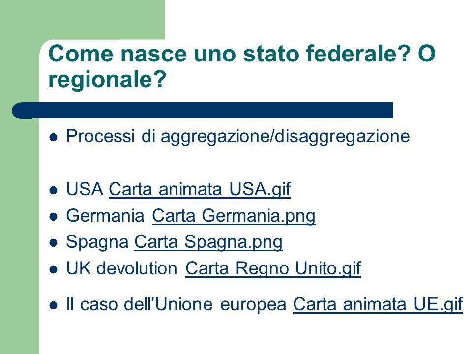 Come nasce uno stato federale O regionale
