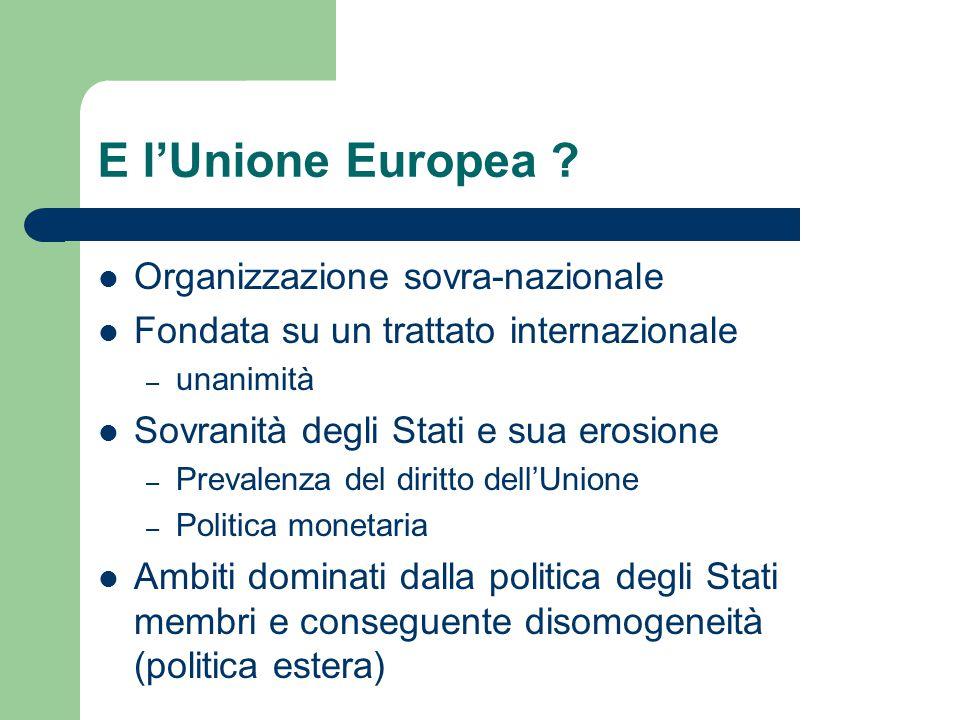 E l'Unione Europea Organizzazione sovra-nazionale