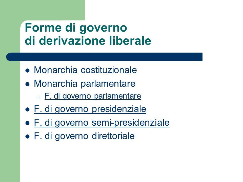 Forme di governo di derivazione liberale