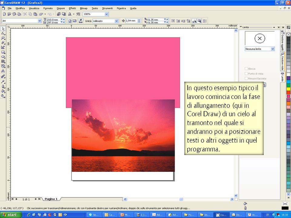 In questo esempio tipico il lavoro comincia con la fase di allungamento (qui in Corel Draw) di un cielo al tramonto nel quale si andranno poi a posizionare testi o altri oggetti in quel programma.