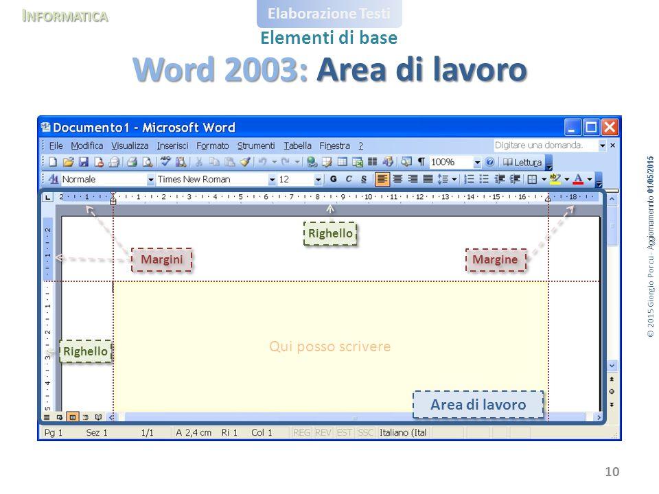 Word 2003: Area di lavoro Qui posso scrivere Area di lavoro Righello