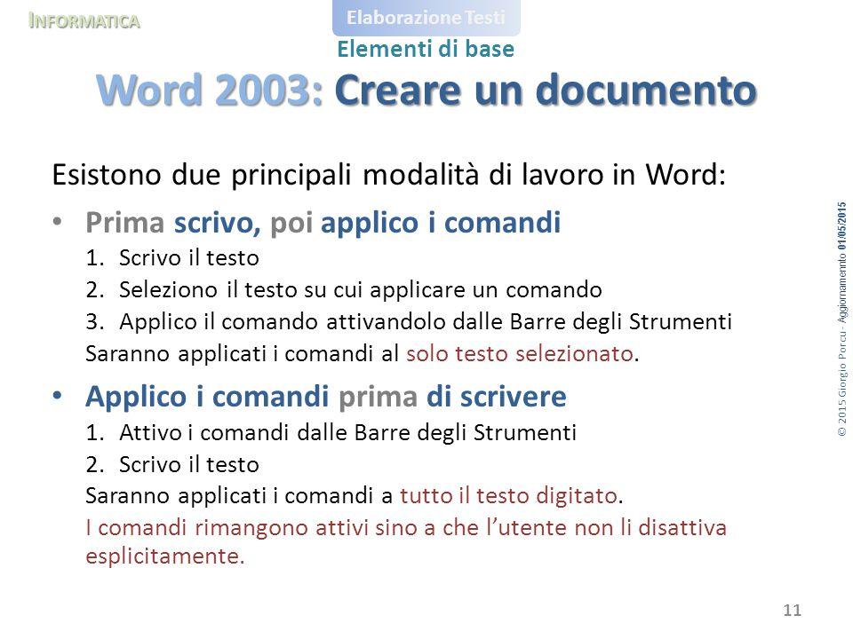 Word 2003: Creare un documento