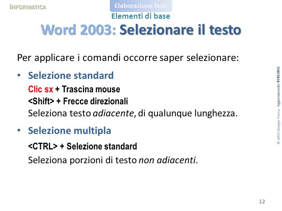 Word 2003: Selezionare il testo