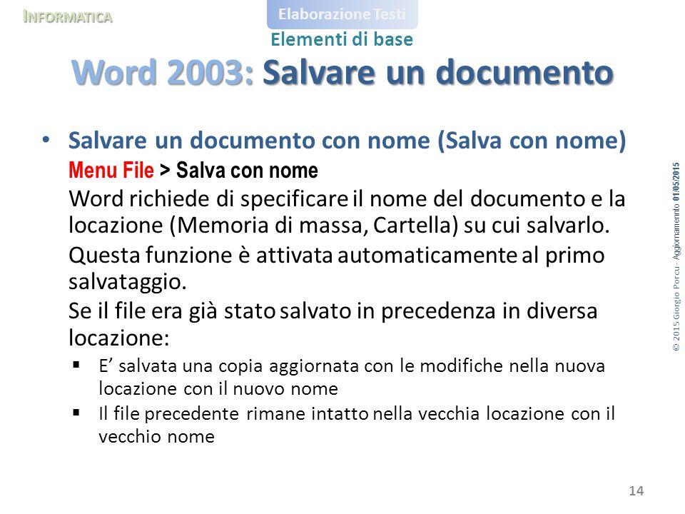 Word 2003: Salvare un documento