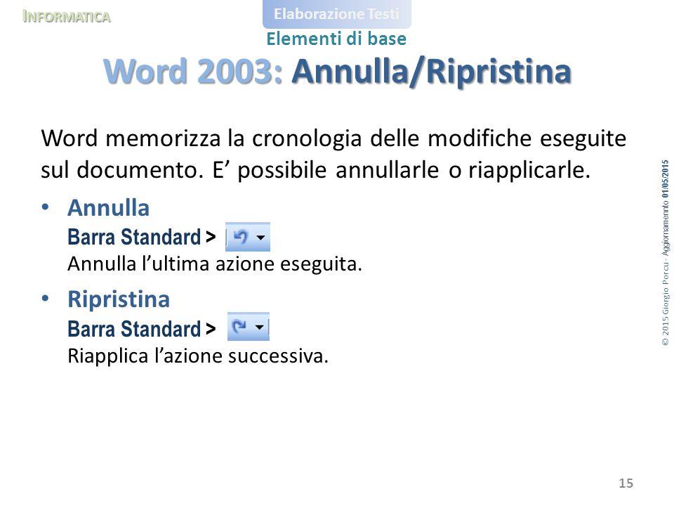 Word 2003: Annulla/Ripristina